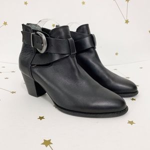 Vionic • Black Leather Rory Buckle Ankle Booties 8